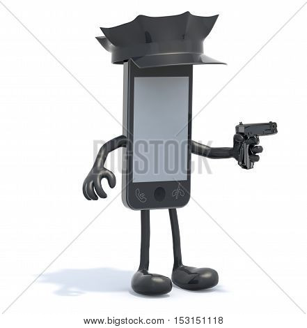 Smartphone With Arms And Legs, Police Cop And Gun On Hand
