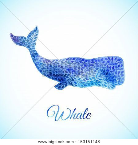 Watercolor whale decorative Illustration made of blue flower ornament