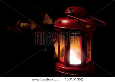All saints day, red latern with dry leaves