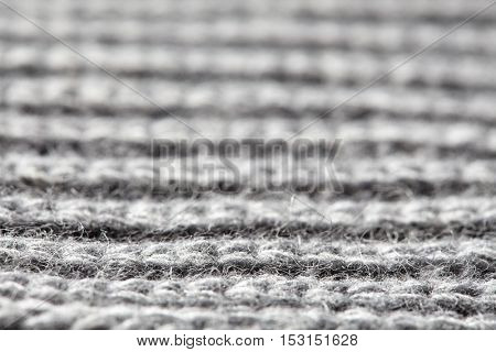 Gray ribbed knitted wool fabric