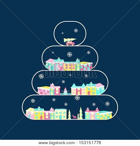 Winter village, rural landscape on christmas tree branch. Xmas icon set in flat design. Congratulation card. Vector illustration eps10