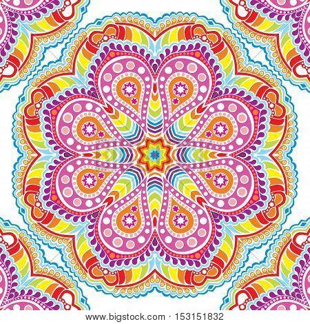 Indian ornament, kaleidoscopic mandala in rainbow colors