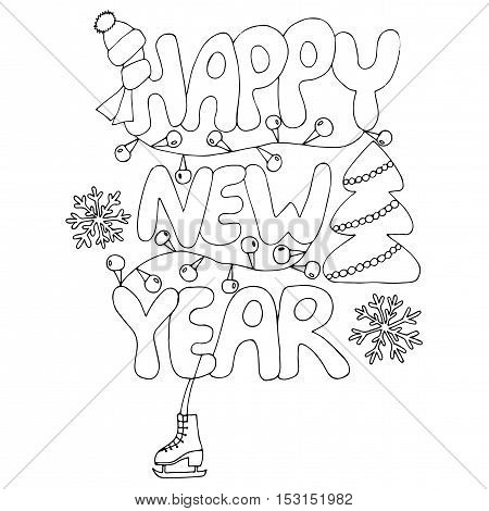 Happy New Year text with snowflake skates tree and garland. New Year Greeting card design. Vector illustration.