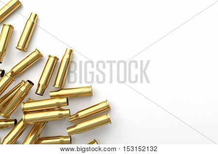 Pile of empty bullet on white background. 3D illustration