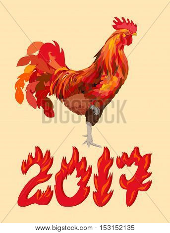 New Year red cock with 2017, vector illustration