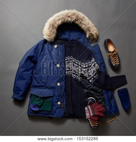 Set of beautiful winter male clothes