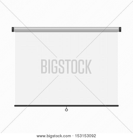 The hanging projection screen isolated on white. Empty presentation board, blank whiteboard for conference.