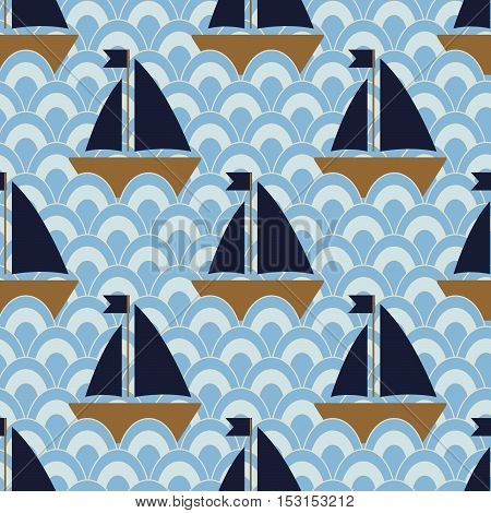 Ships in the ocean, Seamless nautical pattern