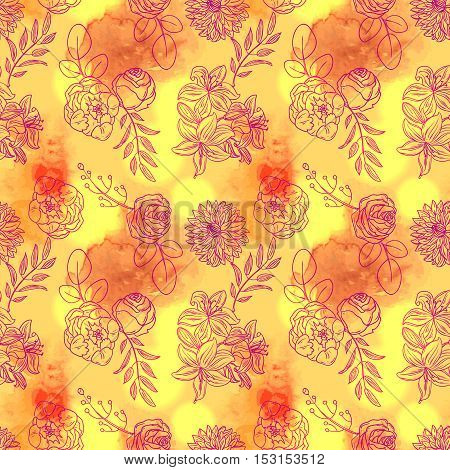Hand drawn vector illustration with flowers. Floral and watercolor seamless pattern. Boho style. Use for scrapbook, tissue, textile, cloth, fabric, web