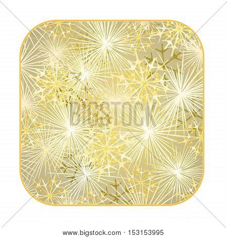 Button square New Year fireworks gold background vector illustration