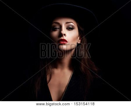 Glamour Sexy Makeup Woman Posing In Fashion Hat On Dark Background. Bright Make-up With Red Lipstic