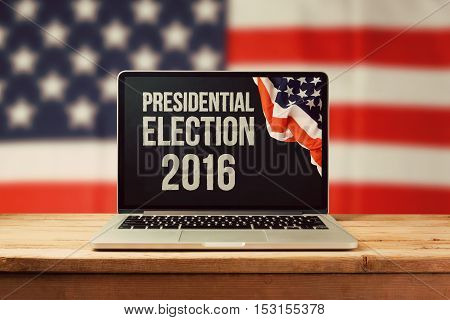Presidential Election 2016 background with laptop computer and USA flag