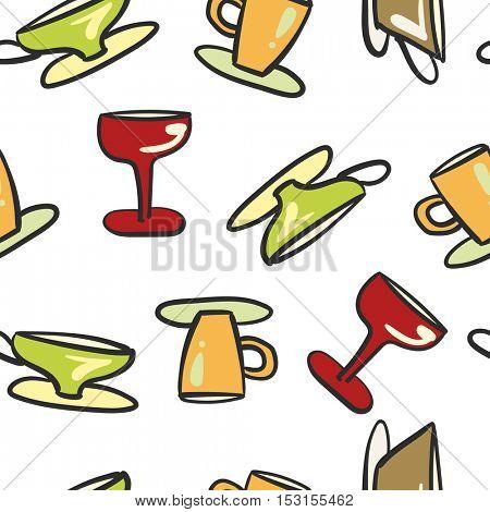 Seamless background cartoon beverage glassware