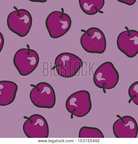 Seamless background cartoon plum