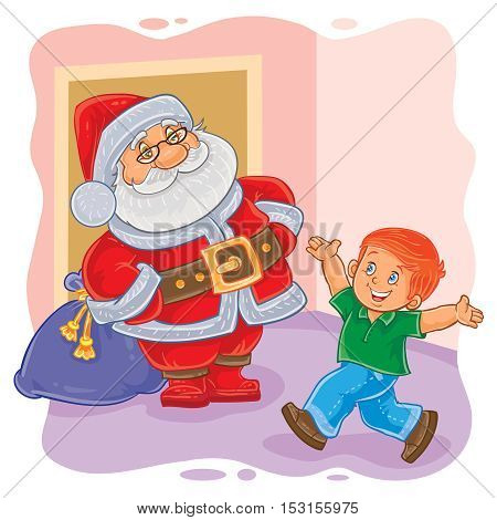 Vector illustration of Santa Claus giving presents to a little boy