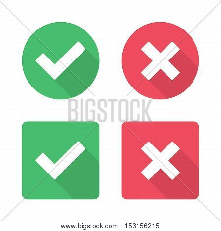 Vector check mark icons. Modern outline flat vector checkmarks isolated on white background
