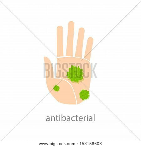 Antibacterial sign. Hand with green bacteria. Vector illustration