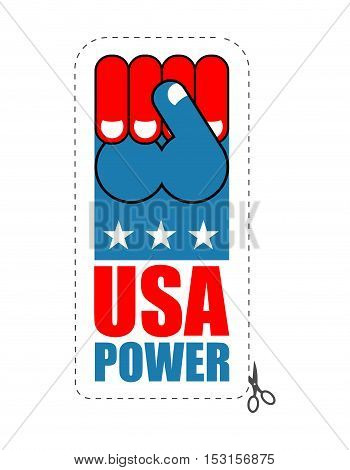 Usa Power. Patriot Fist Emblem. Sign Of Strong America. Logo For Armed Forces. Illustration For Patr