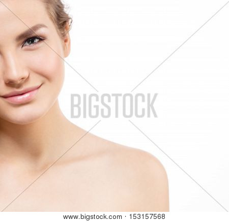Beauty Woman Half-face Portrait. Beautiful Curly Hair Model Girl With Perfect Fresh Clean Skin. Blon