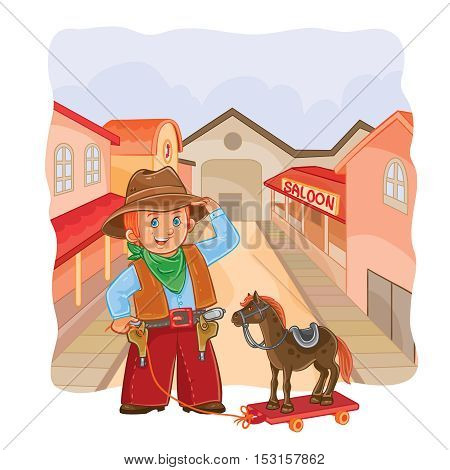 Vector illustration of little cowboy with a wooden horse on a town background
