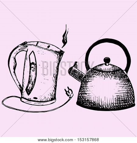 Stove top whistling kettle, electric kettle, doodle style sketch illustration hand drawn vector