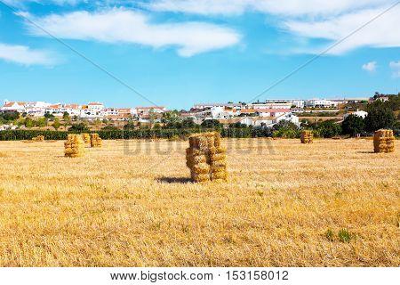 Hay bales in the fields near Aljezur in Portugal