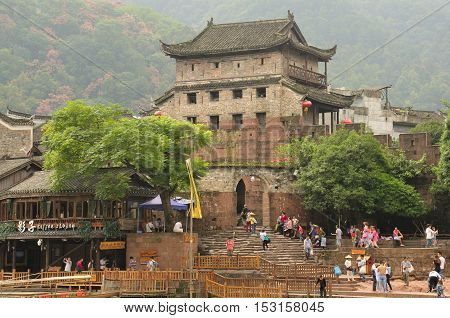 September 13 2015. Fenghuang Village China. An ancient defense tower within the village of Fenghuang China located in Hunan Province.