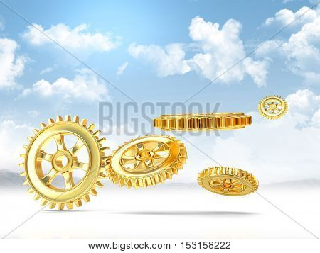 3d rendering of golden gear and blue sky