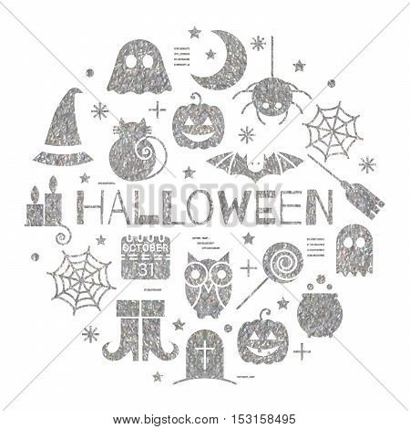Halloween silver icons set in circle shape on white background. Bright design concept for festive banner, greeting and invitation card, flyer, tag, poster, postcard, advertisement. Vector illustration