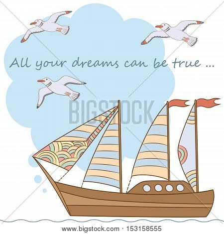 Marine theme.Vector hand drawn illustration. Postcard template with a ship and seagulls