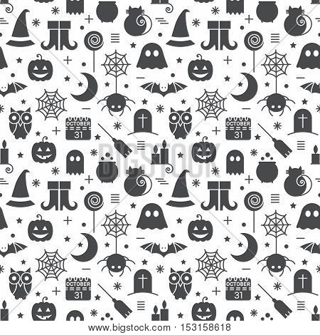 Seamless Halloween monochrome black and white pattern with festive Halloween icons. Design for wrapping paper, paper packaging, textiles, holiday party invitations, greeting card. Vector illustration.