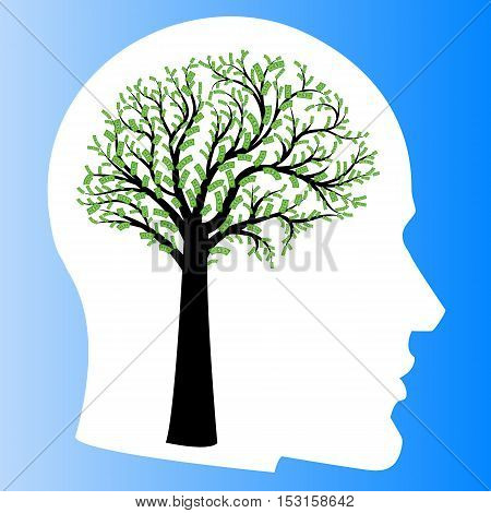 Money tree in shape of human brain inside head. Big tree with dollar bills in form of human brain instead of leaves. Vector illustration Concept of financial thinking development of profit strategy
