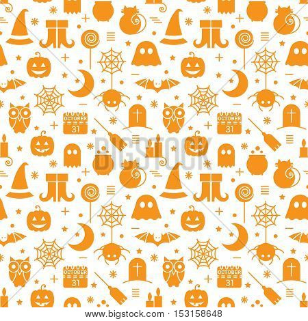 Seamless Halloween monochrome orange and white pattern with festive Halloween icons. Design for wrapping paper, paper packaging, textiles, holiday party invitations, greeting card. Vector illustration