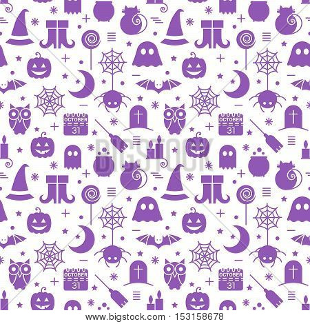 Seamless Halloween monochrome violet and white pattern with festive Halloween icons. Design for wrapping paper, paper packaging, textiles, holiday party invitations, greeting card. Vector illustration