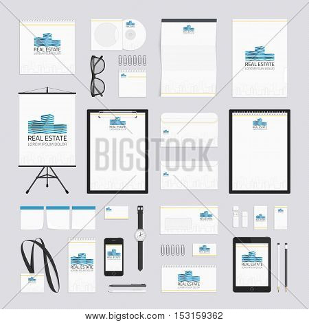 Real estate corporate identity template. Stationery set design. Documentation for business. company style for brand book and guideline.