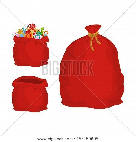 Red Sack. Large Holiday Bag Santa Claus For Gifts. Big Bagful For New Year And Christmas