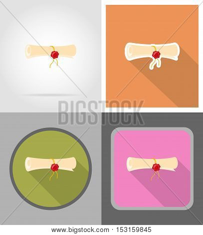 certificate diploma scroll flat icons vector illustration isolated on background