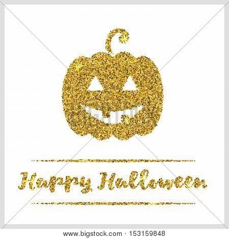Halloween gold textured pumpkin icon on white background.  Vector illustration.
