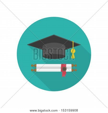 Vector icon of Graduation cap and diploma rolled scroll. Finish education symbol with long shadow. Graduation, education concept.