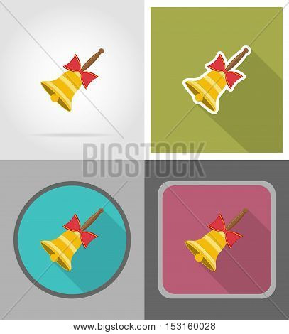 school bell flat icons vector illustration isolated on background