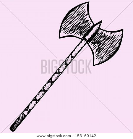Two blade battle axe halberd doodle style sketch illustration hand drawn vector