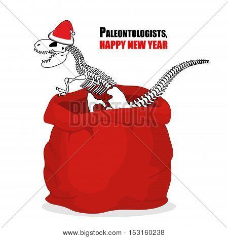 Paleontologists New Year. Dinosaur Skeleton In Red Sack Santa Claus. Tyrannosaurus Congratulates On