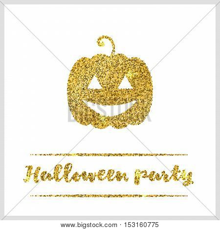 Halloween gold textured pumpkin icon on white background. Golden design element for festive banner, greeting and invitation card, flyer, tag, poster, postcard, advertisement. Vector illustration.