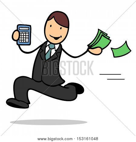 Successful man running to bank with bills and calculator