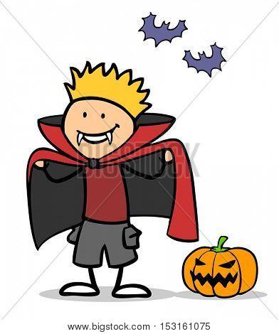 Illustration of kid dressed up as vampire for Halloween
