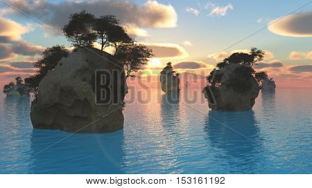 Sunset or sunrise with rocky islands in quiet sea based upon areas in south east Asia  3D Render