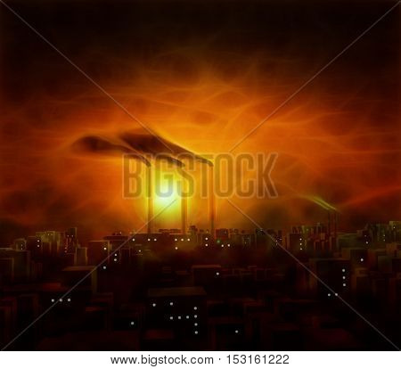 Abstracted factory in city at night or twilight or early morn in orange red hues  3D Render