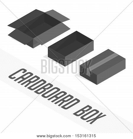Set of vector black open and closed boxes. Empty boxing on light background. Isometric transportation package.