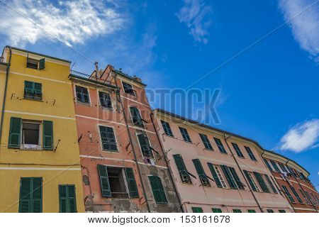 Colorful houses at town Vernazza in Cinque Terre region Italy