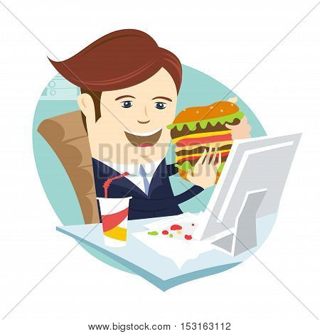 Funny Business Man Eating Sandwich Burger At His Office Workplace. Flat Style